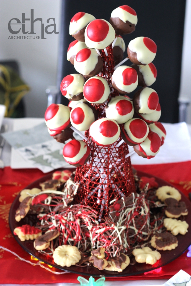 Xmas Cake Pop Tower on Table